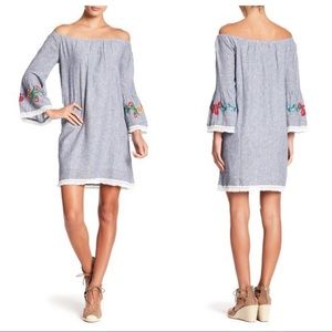beachlunchlounge Off Shoulder Embroidered Dress